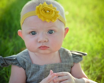 Mustard Shabby Headband, Baby Headband, Photography. Mustard Headband. Autumn Headband