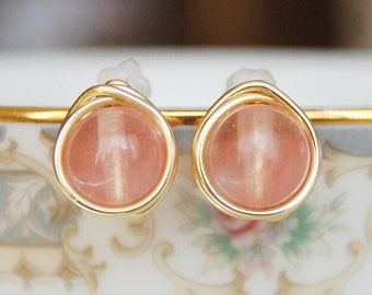 Pink Coral Earrings , Bridesmaid Earrings , Cherry Quartz Studs , Wire Wrapped Post Earrings