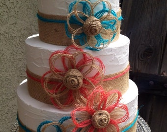 Coral and Turquoise Cake Topper - Burlap - Rustic - Party Decorations - cake Decorations