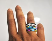 Tribal Inspired Beaded Knuckle Band Ring Set of 7