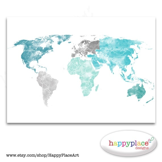 Large world map print aqua turquoise and green watercolor like this item sciox Images