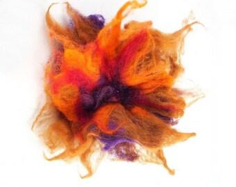 Felted Brooch nuno nunofelt silk flower folk boho red brown tangerine ruby wool victorian fairy