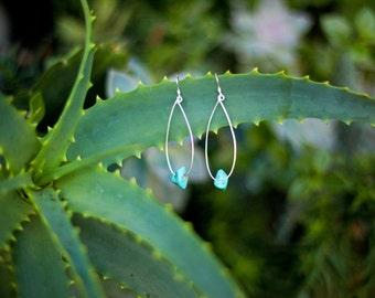 Turquoise Tribal Jewelry, Sterling silver minimal Love hoop earrings