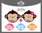 Mod Monkey Clip Art Set with Pink Flower - Invitations, Scrapbooks, Greeting Cards, Party Decorations - Instant Download
