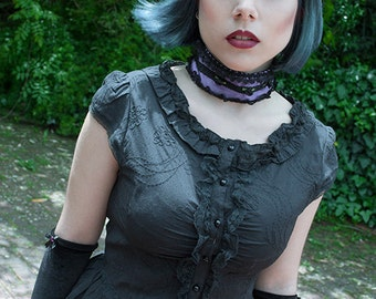 Gothic Lolita Blouse, black, victorian, upcycling, anime, cosplay, cupkcake, tea party, steampunk, lace, cotton, roses, satin