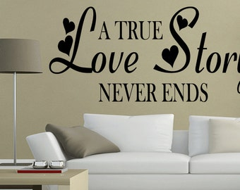 A true Love Story Never Wall Decal Quote Home Decor Art Vinyl Sticker (383)