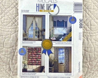 Window Treatments Pattern, McCalls 3088, Home Decor, Panels, Sheers, Shaped Cornice, Roll Up, Folded Shades, Tab Curtains, 1996 Uncut