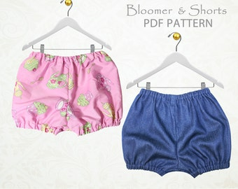 Baby sewing pattern pdf, diaper cover pattern pdf, nappy cover, baby bloomer pattern, baby pants pattern, baby shorts pattern BABY BLOOMERS