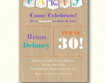 Birthday Party Invitation, adult, milestone, modern, 30th, 40th, 60th, men's, women's, surprise, digital, printable, invite, AB1435