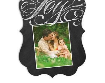 Christmas Card Template - Ornate 5x7 Card - Chalkboard or Kraft Paper Background - JOY - 1343