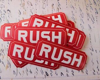Vintage Dennison Gummed Labels RUSH Lot of 20  Caution Labels Unused