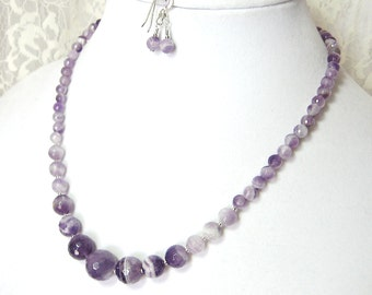 Amethyst Necklace & Earrings Set - Sterling Silver - February Birthstone