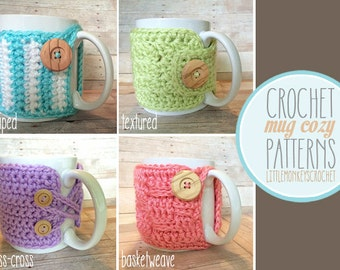 PDF PATTERN Mug Cozy, Set of 4 cozy patterns, coffee cozy, crochet cozy pattern, tea cozy pattern, crochet mug cozy pattern, PDF cozy