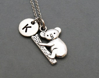 Koala Necklace, Koala bear necklace, initial necklace, initial hand stamped, personalized, antique silver, monogram