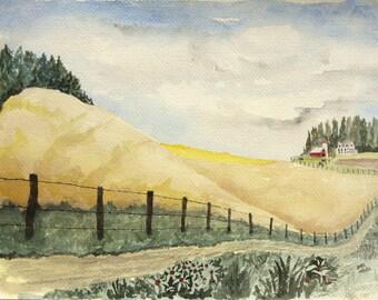 Original Vintage Watercolor - Farm Country Landscape by D.H.S.