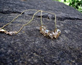 Gold Crystal Necklace, Swarovski Crystal Bridal Jewelry, Gold Rhinestone Necklace, Carrie Necklace, Bridesmaid Necklace Gold Bridesmaid Gift