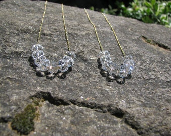 14K Gold, Carrie Necklace, Swarovski Crystal Bridsmaid Necklace, Clear Crystal Necklace, Large Crystal Bridal Jewelry Set, Carrie Necklace