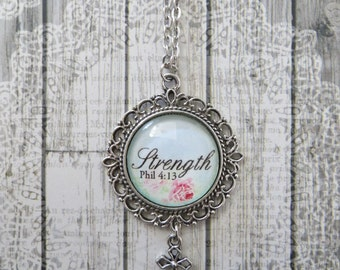 Strength Phil 4:13  Vintage Rose Glass Filigree Pendant Necklace With Silver Cross Charm