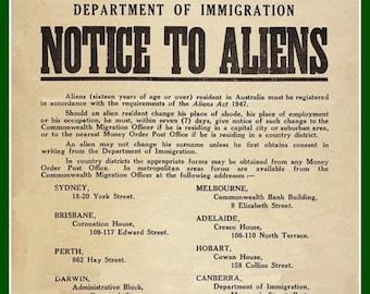 Aliens in Australia - Print from 1947 Original