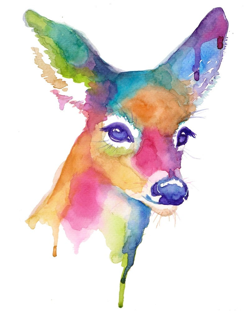 Colorful Doe Abstract Watercolor Print Companion Piece to