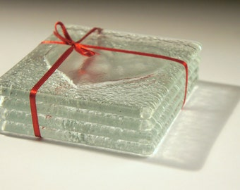 Clear Heart Glass Coasters - Set of 4 Fused Glass Coasters with Heart Design