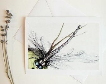 Dragonfly Greeting Card, Handmade Blank Greeting Card, Original Art Card, Nature Insect Art