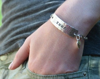 Personalized Name ID bracelet, gift for teen, custom stamped metal name bracelet, girl gift, teen gift, Love Squared Designs