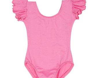 Bright Pink Toddler & Girls Flutter / Ruffle Short Sleeve Leotard READY TO SHIP