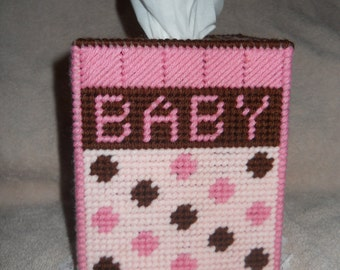 Baby Girl Tissue Box Cover Plastic Canvas