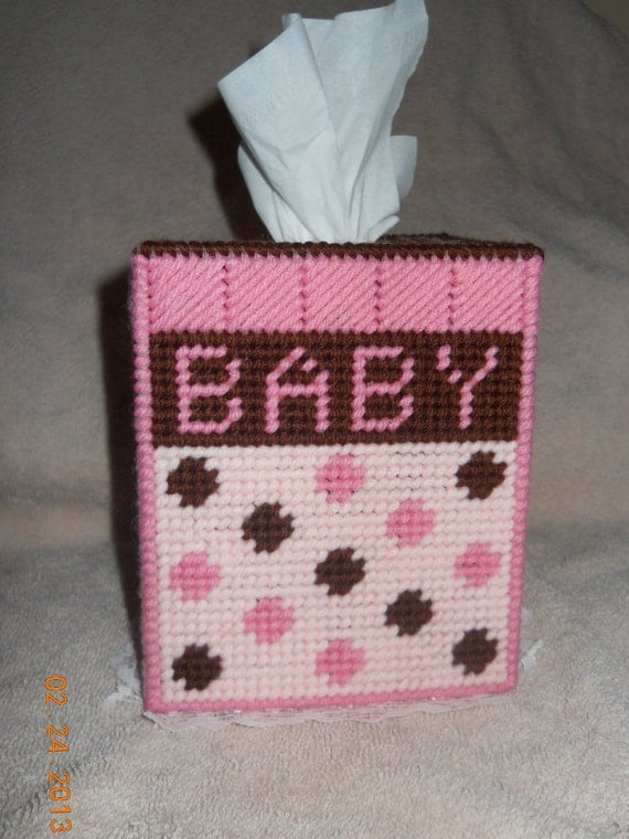 Baby Girl Tissue Box Cover Plastic Canvas By SpyderCrafts