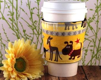 Dogs on Yellow Coffee Cozy - Dog Coffee Cozy - Puppies - Pets - Coffee Cozy - Fabric Coffee Cozy - Tea Cozy