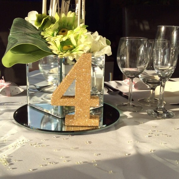Wedding gold glitter table numbers set 1 12 wedding table for Glitter numbers for centerpieces