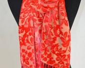 velvet scarf with fringe, burn out, floral pattern, salmon pink  and beige, hand dyed