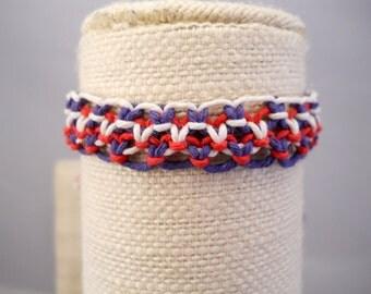 Red, White and Blue Patriotic Adjustable Hemp Bracelet