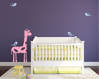 Children's Room Decal with Giraffe and Birds