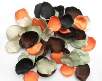 Camo Flower Petals, 100 Handmade Camo Wedding Flower Petals, Decor, Table Scatter, Camo Wedding Decorations, Camouflage, cammo, orange