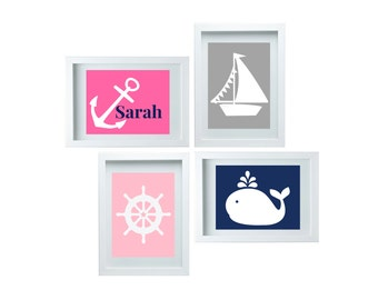 Girls Bedroom Decor Nautical  Decor Nursery Art Personalized Name, Anchor Sailboat Whale Ship Wheell Wall Art Print Set of 4 - 8x10