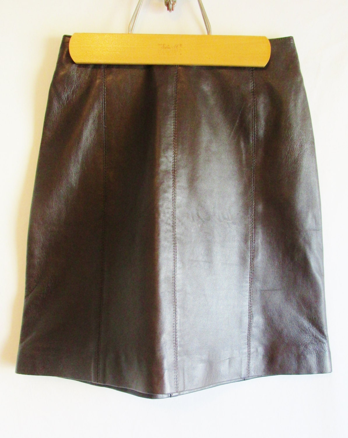 vintage 1990 s brown leather pencil skirt by