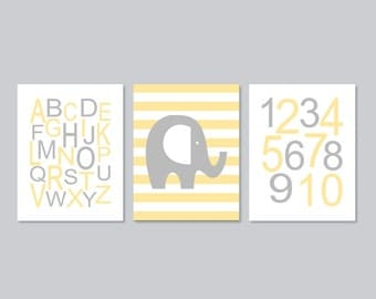 Elephant Nursery WALL ART Boy Nursery Decor Alphabet Numbers ABC 123 Soft Yellow Gray Grey Set of 3 Prints Or Canvas Elephant Theme Nursery