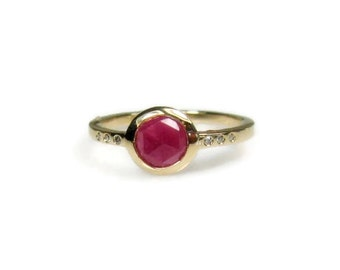 Pink Sapphire and Diamond Ring, Rose Cut, low profile, Ready to Ship, Size 6.25