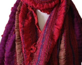 Red Scarf , Purple Striped Scarf , Ruffle Ruched Frilled Scarf , Ladies Pashmina Shawl Fair Trade Scarf