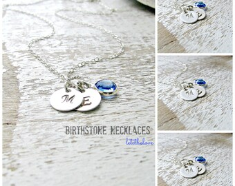 Personalized Initial Necklace letter Necklace Swarovski Birthstone Necklace 925 Sterling Silver monogram initial monogram jewelry letters