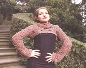 cropped brown sweater - knitted shrug - long sleeve shrug - leisure sweater - brown shrug - avantgard