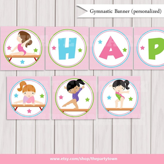 Gymnastic Birthday Party BANNER Personalized Printable