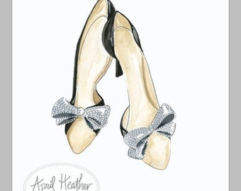 Watercolor + ink fashion illustration--chic shoes-by April Heather Art