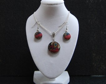 Necklace and Earrings Set, Upcycled Silk Tie Jewelry, Gift for Mom, Hostess Gift, Silk Tie Refashion