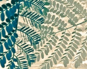 Leaves, Nature, Plant Photography, Teal and Taupe Fine Art, Woodland, Macro Beige and Green Photography