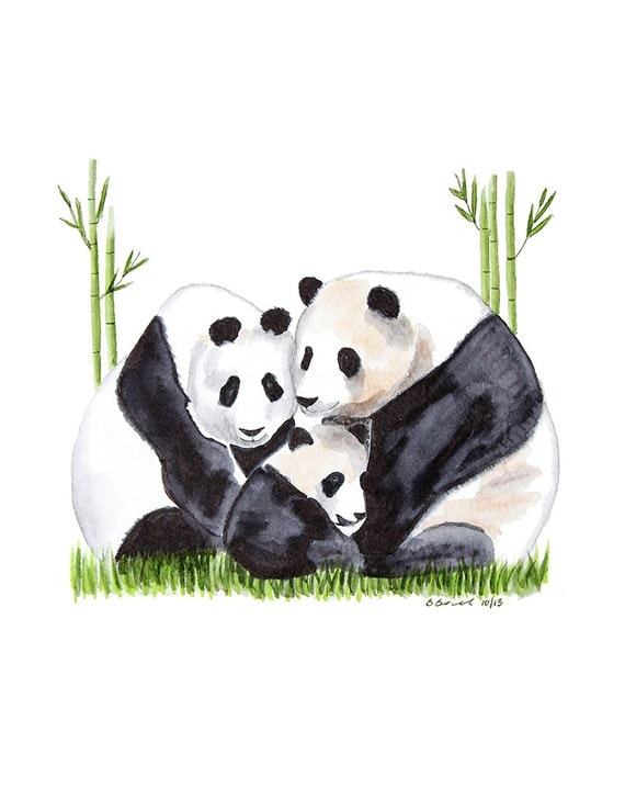 Asian wall art panda bear print watercolor panda by for Panda bear decor