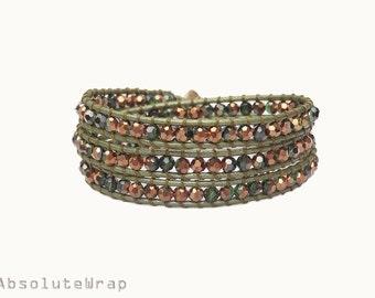 Metallice brown and green crystal wrap bracelet on leather cord, green wrap bracelet, olive green, triple wrap bracelet