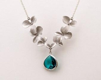 Flower Necklace with Blue Zircon Crystal, Wedding Jewelry, Bridesmaid Jewelry, Everyday Necklace